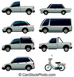 kolor, różny, pojazd, biały, typy
