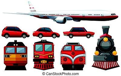 kolor, różny, pojazd, czerwony, typy