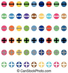 kolor, różny, strzały, okrągły
