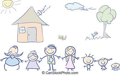 kolor, rodzina, szczęśliwy