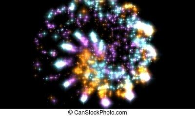 kolor, ruch obrotowy, fajerwerki