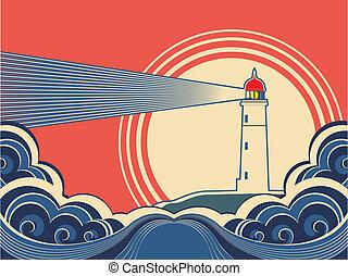 kolor, sea., latarnia morska, błękitny, wektor, afisz, ...