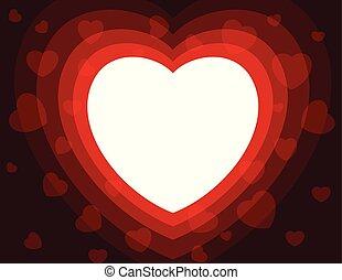 kolor, serce, abstrakcyjny, czerwone tło