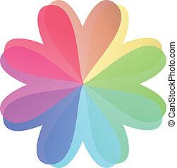 kolor, serce, multi, kwiat