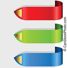 kolor, strzały, projektować, wstążka, czysty, element.
