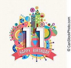 kolor, szczęśliwy, karta, urodziny, 11, powitanie, afisz, ...
