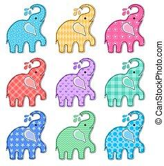 kolor, szczęśliwy, komplet, dziewięć, słonie