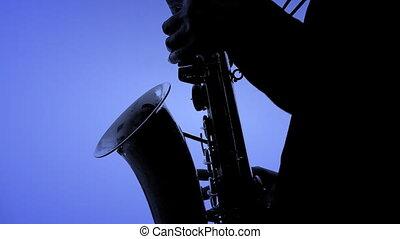 kolor, tło., szczelnie-do góry, saksofonowy gracz