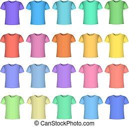 kolor, t-shirt, projektować, szablon