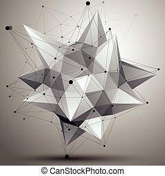 kolor, techniczny, wireframe, object., formułować, polygonal, jednorazowy, przestrzenny, kontrast