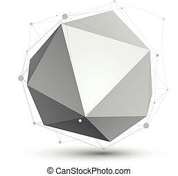 kolor, techniczny, wireframe, object., formułować, polygonal, jednorazowy, wektor, eps8, przestrzenny