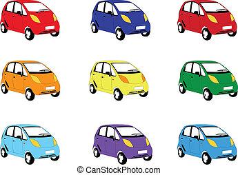 kolor, wóz, różny, wektor, -