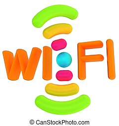 kolor, wifi, icon., 3d, ilustracja