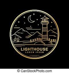 kolor, złoty, latarnia morska, wektor, projektować