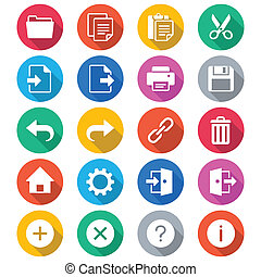 kolor, zastosowanie, płaski, toolbar, ikony