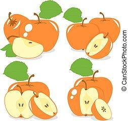 kolor, zbiór, kromki, wektor, jabłka, tło, pomarańcza, ilustracje, przeźroczysty