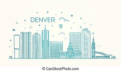 kolorado, denver., miasto, skyline., architektura, zabudowanie, krajobraz, panorama, punkty orientacyjny, ikony