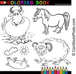 kolorit, djuren, lantgård, eller, bok, sida