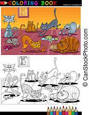 kolorit, eller, bok, katter, tecknad film, sida