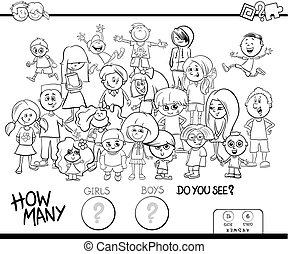 kolorit, flickor, pojkar, bok, aktivitet, räkning