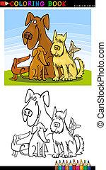 kolorit, hundkapplöpning, bok, tecknad film, eller, sida