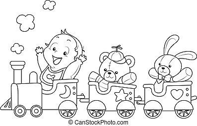 kolorit, sida, baby leksak, tåg