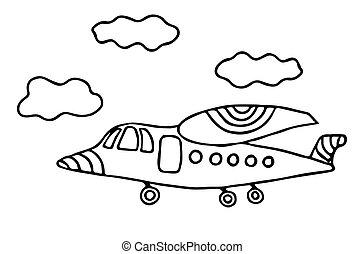 kolorit, tecknad film, bok, svart, fodra, eller, airplane, sida