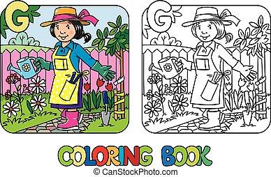 kolorowanie, alfabet, zawód, book., abc, g., ogrodnik