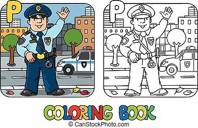 kolorowanie, alfabet, zawód, policeman., p, abc, książka