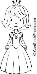 kolorowanie, book:, mała dziewczyna, chodząc, księżna,...