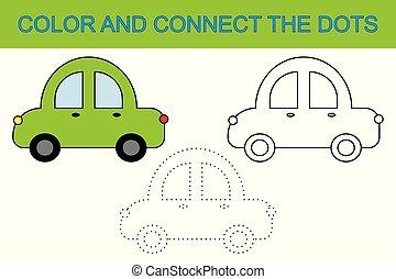 kolorowanie, book., zjednajcie wielokropek, żeby stworzyć, wóz., działalność, dla, children.