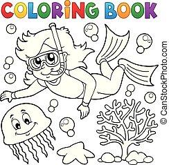 kolorowanie, dziewczyna, snorkel, książka, nurek