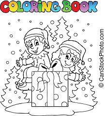 kolorowanie, elf, książka, temat, 2, boże narodzenie