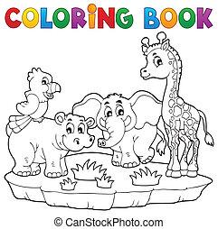 kolorowanie, fauna, 2, książka, afrykanin