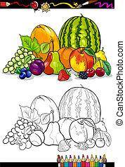 kolorowanie, grupa, książka, ilustracja, owoce