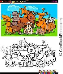 kolorowanie, grupa, psy, koty, litery, książka