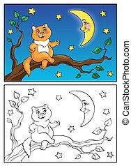 kolorowanie, illustration., kłamstwa, moon., book., kot, mówiąc, wektor, gałąź, czerwony