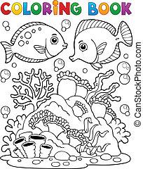 kolorowanie, koral, 1, temat, książka, rafa
