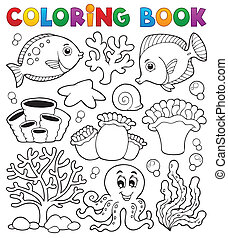 kolorowanie, koral, temat, książka, rafa, 2