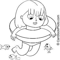 kolorowanie, lifebuoy, książka, sea., dziewczyna, pływacki, szczęśliwy
