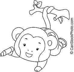 kolorowanie, małpa, kolor, ilustracja, gałąź, strona