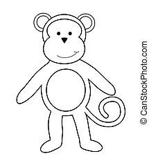 kolorowanie, małpa, strona