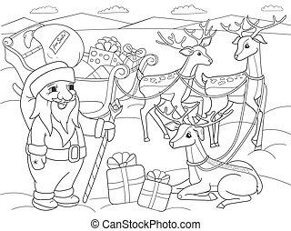 kolorowanie, północ, dziatw, zwierzę, nature., claus, jeleń, magiczny, sanie, następny, słup, święty, przyjaciele, rysunek