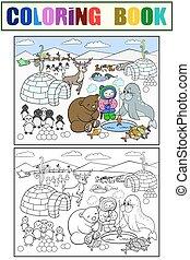 kolorowanie, północ, dzieciaki, ilustracja, słup, wektor