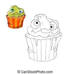 kolorowanie, page., halloween, cupcake., kolor, przez, takty muzyczne, oświatowy, dzieci, game., rysunek, dzieciaki, działalność, printable, sheet.