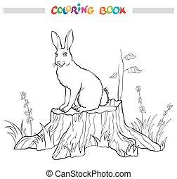 kolorowanie, pniak, grass., książka, kwiat, królik
