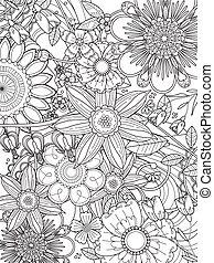 kolorowanie, pociągający, kwiatowy, strona