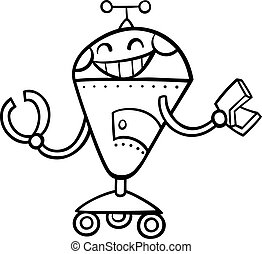 kolorowanie, robot, ilustracja, rysunek