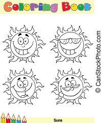 kolorowanie, słońce, litera, 1, książka, strona