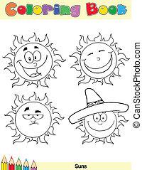 kolorowanie, słońce, litera, książka, 2, strona